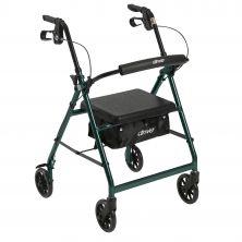 Walker Rollator with Fold Up and Removable Back Support and Padded Seat