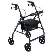 Aluminum Rollator with Fold Up and Removable Back Support and Padded Seat