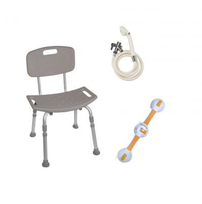 Shower Tub Chair Grab Bar Safety Bundle