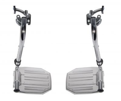 Chrome Swing Away Footrests with Aluminum Footplates